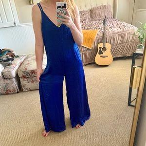 Long Silky Royal Blue Romper